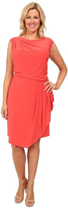 Plus Size Asymmetrical Drape Jersey Dress