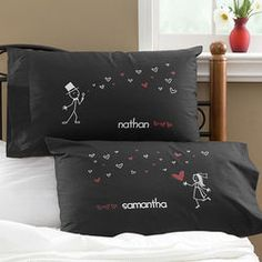 Blown Away By Love Personalized Newlywed Pillowcases in Black fc0b5f4ff