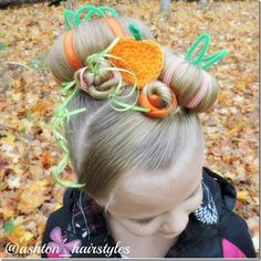 This would be fun for Halloween, Thanksgiving or even crazy hair day! Wacky Hair Days, Crazy Hair Days, Little Girl Hairstyles, Cute Hairstyles, Halloween Hairstyles, Hairstyle Ideas, Days For Girls, Cute Updo, Crochet Pumpkin
