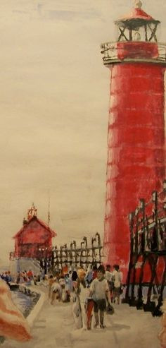 Grand Haven Michigan Pier  LIMITED  Free by Watercolorsbywayne, $49.00