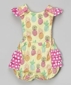 Take a look at this Yellow & Pink Pineapple Bubble Romper - Infant on zulily today!