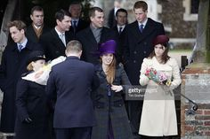 Prince William, Prince Andrew, Duke of York, Rear Admiral Timothy Laurence, Peter Phillips, Prince Harry, Princess Beatrice and Princess Eugenie attend Christmas Day service at Sandringham Church on December 25, 2005 in King's Lynn, England.