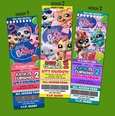 Littlest Pet Shop Birthday Party Invitation Ticket 1st C1 Custom First Card   eBay