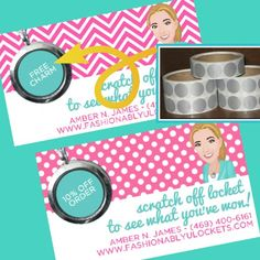 Origami Owl Jewelry Bar scratcher cards for incentives for hosting a party or bringing a friend.  Simply cover the prize with a scratch off sticker and voila! Who doesn't love a scratcher? http://www.alwayslove.origamiowl.com/