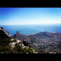 City Bowl from the top of Table Mountain. Table Mountain, Cape Town, Airplane View, South Africa, Mountains, Country, City, Nature, Top