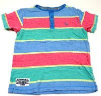 Modro-korálovo-zelené pruhované tričko zn. Tu