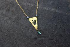 Grateful dead jewelry / Jerry Garcia necklace / handmade / Raw Blue Tanzanite Green Tourmaline
