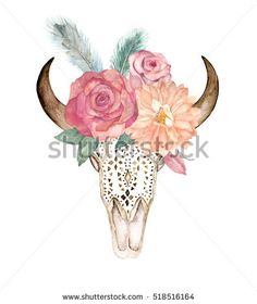 Watercolor isolated bull's head with flowers and feathers on white background. Boho style. Ornamental skull for wrapping, wallpaper, t-shirts, textile, posters, cards, prints