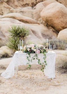 boho wedding tables - photo by Jennifer Fujikawa Photography http://ruffledblog.com/desert-bloom-wedding-inspiration