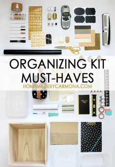 Want to get organized? Start with a kit to help you get organized! Get a list of the top organizing tools and must have supplies | HMC