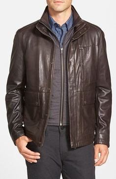 BOSS 'Morano' 3-in-1 Leather Jacket with Waistcoat Liner available at #Nordstrom