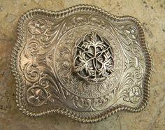 Silver Leaf Concho Belt Buckle  Western Womens by StepOriginals, $34.99