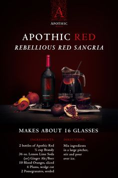 A crimson red mixture of all our favorite Halloween treats: blood oranges, plums and pomegranate seeds with sparkling lime juice, brandy and—of course—Apothic Red. Halloween Drinks, Holiday Drinks, Party Drinks, Summer Drinks, Fun Drinks, Halloween Treats, Halloween Kitchen, Halloween Party, Beverages