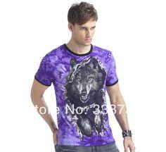 3d Wolf Short Jersey Sleeve Mens T-shirt 2014 New Spring & Summer Men's Top Shirts Skin Friendly Men T-shirts Luminous At Night $14.90