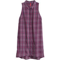 H&M Sleeveless shirt dress (£15) ❤ liked on Polyvore featuring dresses, vestidos, tops, shirts, flare dress, short dresses, shirt dress, long shirt dress and purple sleeveless dress
