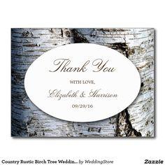 Country Rustic Birch Tree Wedding Thank You Postcard