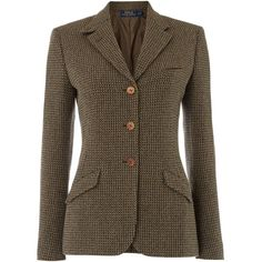 Polo Ralph Lauren Custom tweed riding jacket ($600) ❤ liked on Polyvore featuring outerwear, jackets, brown, women, polo ralph lauren, brown tweed jacket, tweed jacket, water proof jacket and checkered jacket