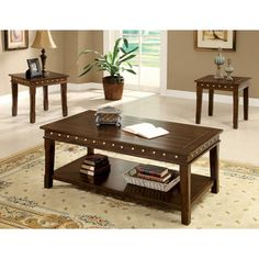 3 pc Fenwick walnut finish wood coffee and end table set. The set contains the coffee table and 2 - end tables. Coffee Table measures x x H. End table measures x x H. Some Assembly Required. Living Room Table Sets, Living Room Furniture, Home Furniture, Kitchen Furniture, Furniture Deals, Simple Furniture, Brown Furniture, Furniture Websites, Inexpensive Furniture