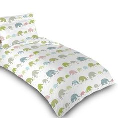 Childrens Single Bed Elephant Print Duvet Cover Set. Colour: White with Pink, Blue, Green & Grey Elephant Design. Size: 135cm x 200cm: Amazon.co.uk: Kitchen & Home