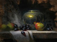 "Jeff Legg, Orchard Apples and Brass, 9""x12"" oil on board"