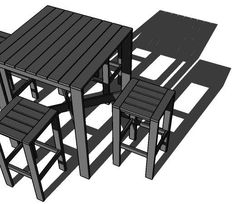 Outdoor Modern Bar Table, X Base.  Free step by step DIY plans from Ana-White.com #Plan