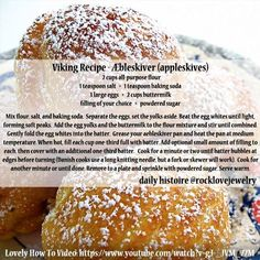 Viking recipe - Æbleskiver I think these are Poffertjes? Medieval Recipes, Ancient Recipes, Viking Food, Nordic Recipe, Cooking Tips, Cooking Recipes, Recipies, Chard Recipes, Gastronomia