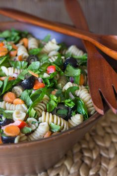 Chopped Spinach and Pasta Salad With Balsamic Vinaigrette - classic summertime pasta salad lightened up!