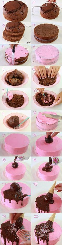 como fazer bolo sorvete glacê