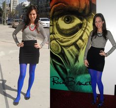Another blue tights idea. Purple Tights, Everyday Fashion, Hosiery, Runway Fashion, Autumn Fashion, Mini Skirts, Style Inspiration, Type 4, Work Outfits