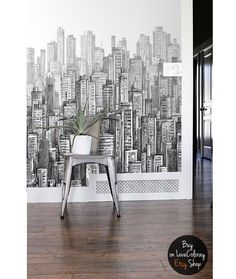 Black and white City Wall Mural | Hand Drawing | Peel & Stick City Wallpaper | Wall art | Wall sticker