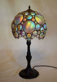 "treasures-and-beauty: "" Art Nouveau Style Bubbles Table Lamp by Laurel Yourkowski Studio "" Schätze u Antique Lamps, Vintage Lamps, Chandeliers, Studio Lamp, Studio Table, Lampe Applique, Art Nouveau Furniture, I Love Lamp, Stained Glass Lamps"