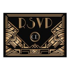 great gatsby wedding black and gold | ... wedding rsvp response card with a roaring twenties great gatsby theme