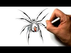 How to Draw a Black Widow Spider - Tribal Tattoo Design - YouTube