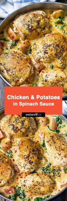 Chicken and Potatoes with Garlic Parmesan Cream Sauce makes for a nourishing dish perfect for a weeknight. Chicken thighs and potatoes are pan-seared, then finished in a delicious creamy sauce that… (garlic parmesan sauce recipe) Think Food, I Love Food, Turkey Recipes, Dinner Recipes, Paleo Dinner, Dinner Entrees, Dinner Menu, Chicken Recipes For Dinner, Dinner Ideas