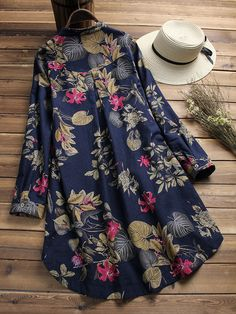 Women Floral Printed Stand Collar Mid-Long Vintage Blouses Cheap - NewChic Mobile