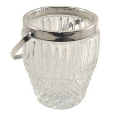 Mid Century Vintage Silverplate Cut Crystal Ice Bucket, TheHourShop. Set up your home bar in vintage style! #allthingscocktail #thehourshop