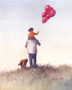 People series 8 - Original Watercolor Archival Print - Father and Daughter and a Dog - Girl, Man,Dog, Baloon, Childhood, Father's Day
