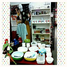 Rockin' Ramzi's Rockabilly and Pin Up Emporium main floor booth #848 beside the Coca Cola collector in the One of a Kind Antique Market 97 Wilson Street Woodstock, Ontario. #pyrex #fireking #retro #vintage #antique #rockabilly #rockabilly_pinup @rockabilly_pinup #Woodstock #Ontario #woodenironingboard #hotrodgirl #wizardofoz #oz #elmo #cookiemonster #glassware #bluemountainpottery