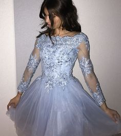 Long Sleeve Homecoming Dresses,Blue Homecoming Dress,Lace Homecoming Dress,Short Prom Gowns,Women Dresses for Homecoming,Fashion Dresses,Open Back Party Dresses,Short Graduation Dress,Homecoming Dress with Appliques,Bateau Homecoming Dress