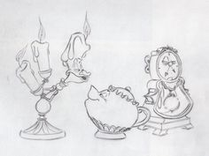 Finalized Lumiere, Cogsworth and Mrs. Potts, by Chris Sanders