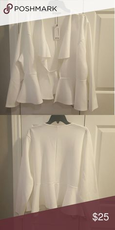 Trendy peplum blazer Solid white long sleeved peplum blazer with front hook. This blazer has a ruffle effect down the lapel. It is made from the thin scuba like material. Boohoo Plus Jackets & Coats Blazers