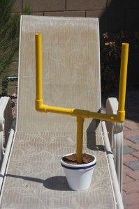 This fun DIY makes a huge statement on the Superbowl party buffet table. Simple pvc pipe, a pot with dirt and yellow spray paint.