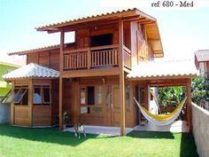 Minha futura casa. Village House Design, Bungalow House Design, House Front Design, Timber House, Wooden House, Home Building Design, Building A House, House Construction Plan, Bamboo House Design