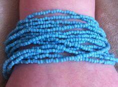 Turquoise seed bead bracelet