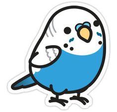 'Chubby Blue Budgie' Sticker by birdhism Anime Stickers, Kawaii Stickers, Cool Stickers, Printable Stickers, Cute Kawaii Drawings, Cute Animal Drawings, Bird Drawings, Funny Birds, Cute Birds
