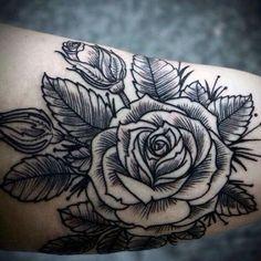 tatuaje rosa lineal - Buscar con Google