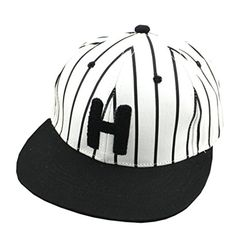 b64e83530de5 Basnat Canvas Striped Flat Visor Street Dancing Adjustable Fitted Men s  Women s Hip-Hop Hat Baseball