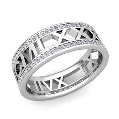 White gold wedding band with Roman Numeral detail - customizable with your own special date!!