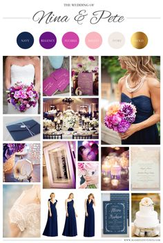 A purple / navy / pink / gold / wedding board. www.manifestevents.com