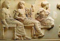 Seated gods and goddesses (Poseidon, Apollo, Artemis, Aphrodite, and Eros) of east frieze, Acropolis Museum, Athens